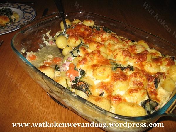 Ovenschotel spinazie, ham en krieltjes